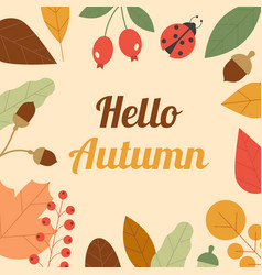autumn composition frame made of leaves vector image