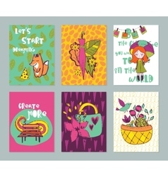 Autumn funny hand drawn cards set vector
