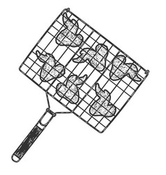 Barbecue grid fried chicken wings sketch scratch vector
