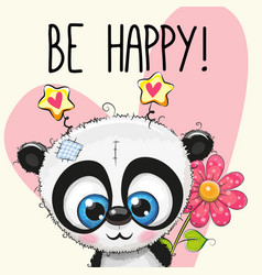Be happy greeting card with panda vector