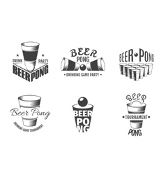 Beer pong labels Party badges vector