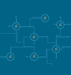 Blockchain stellar circuit style background vector