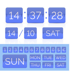 Blue flat time counter with flip calendar vector