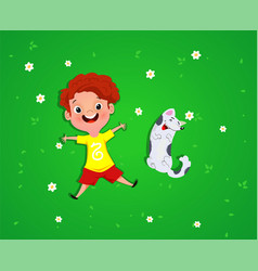 Boy lies with dog on grass vector
