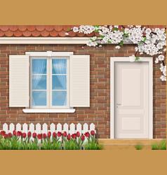 Brick facade with window fence tulips vector