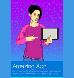 Business woman holding tablet pc vector