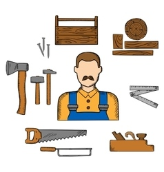 Carpenter with timber and tools vector image