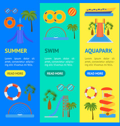 cartoon aquapark playground banner vecrtical set vector image