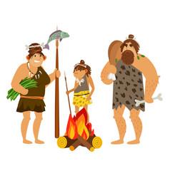 Cartoon cavemen family vector