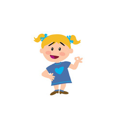 Cartoon character girl in approval attitude vector