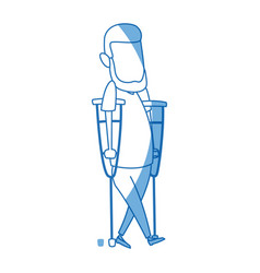 Cartoon man disability walking on crutches vector
