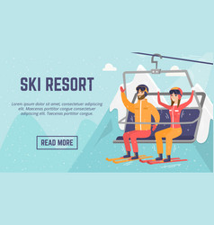 Caucasian couple skiers using cableway at ski vector