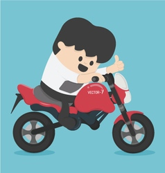 character businessman riding on a motorcycle vector image