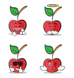 collection set cherry character cartoon style vector image
