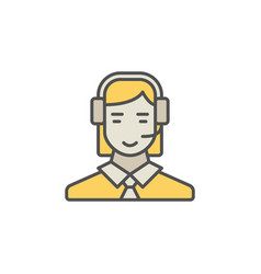 colorful call center operator icon woman vector image