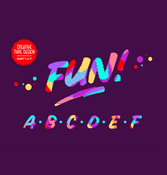 colourful alphabet kids font in cartoon vector image