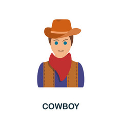 Cowboy flat icon color simple element from wild vector