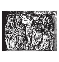 Crucifixion is a sculpture christ vintage vector