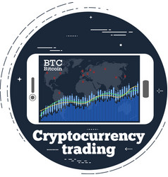 cryptocurrency trading concept in line art style vector image