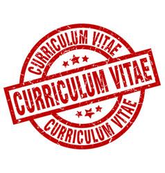Curriculum vitae round red grunge stamp vector