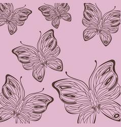 Cute drawing butterflies pattern d vector