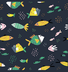 cute fish flat hand drawn seamless pattern vector image