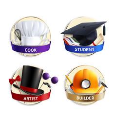 Different professions hats realistic emblems vector