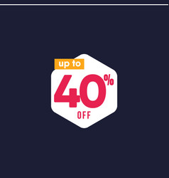 Discount up to 40 off label template design vector