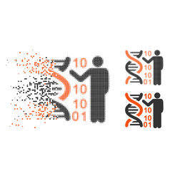 Dissipated pixelated halftone dna code report icon vector