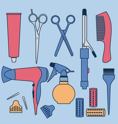 Drawing hairdressing accessories collection vector