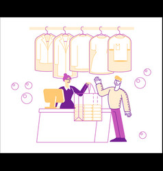 dry cleaning service female character vector image