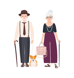 Elderly couple with canes and pet dog on leash vector
