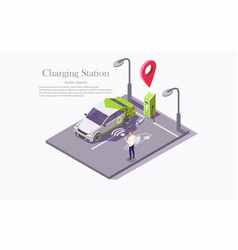 ev charging station technology web banner vector image