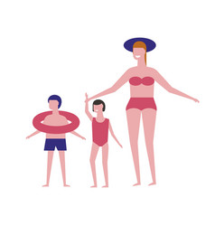 family in swimsuits on beach icons vector image