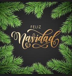 Feliz navidad spanish merry christmas golden hand vector
