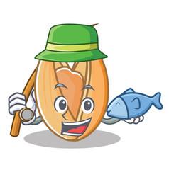 Fishing pistachio nut mascot cartoon vector