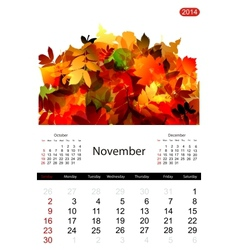 Floral calendar 2014 november vector image
