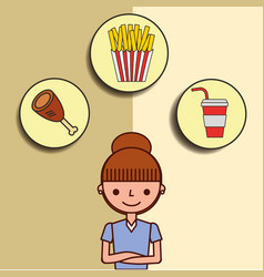 girl cartoon and fast food chicken soda french vector image