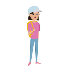 girl tourist travel vacation activity vector image