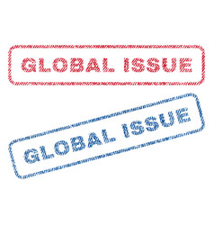 Global issue textile stamps vector