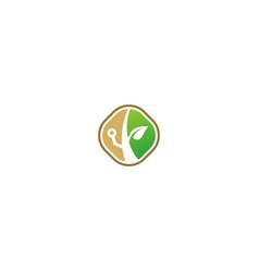 green leaf tree botany technology logo vector image