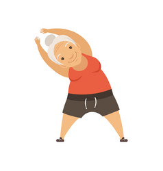 Grey senior woman doing sport exercise incline to vector