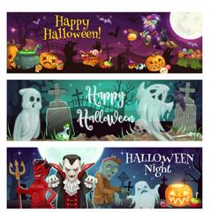 Halloween ghosts witch vampire dracula devil vector