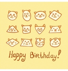 Happy Birthday Card with funny cat muzzles on vector image