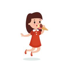 Happy brunette girl licking ice cream cartoon vector