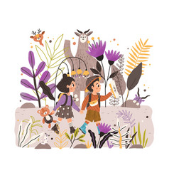 Happy kids walking together in fairy forest of vector