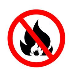 Icon ban fire sign forbidden open flame vector