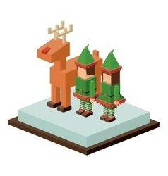 Isometric christmas deer and elf design vector