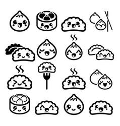 Kawaii chinese dumplings cute asian food dim sum vector