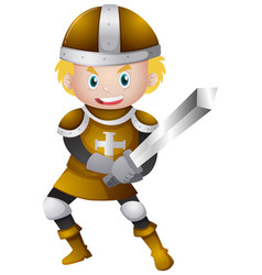 Knight in golden armour with sword vector